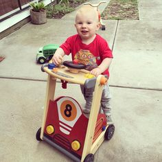 We had a special visitor today who was keen to try out our racing car walker!! This lil man had so much fun pressing the horn  and turning the steering wheel pretending to drive! This racing car baby walker is great to teach babies how to walk and has a range of activities and and a compartment for storing toys at the back.  #ecotoys #ecotoysau #ecotoystore #toys #toystore #toyshop #babywalker #babytoys #babyschristmas #woodentoys