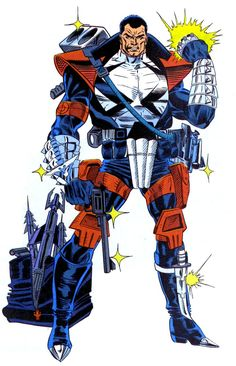 Punisher 2099. Patriotic criminal killer. The Wonder Woman shinny like braclets,red skull knee pads and the toaster over his shoulder,ugly. He is punishing himself by wearing this mess.-L