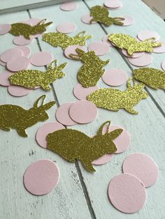 Pink and gold bunny confetti. 50 units. Gold glitter confetti. First birthday party. 1st birthday girl. by InspiredbyAlma on Etsy
