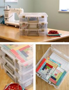10 Sewing Room Organization Tips Tips for quilt project organizationTips for quilt project organization Diy Storage Space, Sewing Room Storage, Sewing Room Decor, Sewing Room Organization, My Sewing Room, Craft Room Storage, Sewing Rooms, Organization Hacks, Craft Rooms