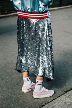 Baby Pink Sneakers With White Tube Socks Street Style Silver Glittered Shimmery Midi Skirt Spring