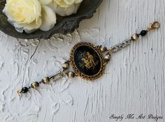 Vintage Cameo Art Deco Rhinestone and Baroque Pearl by simplymeart