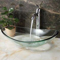 Elite Tempered Glass Boat Shaped Bowl Vessel Bathroom Sink