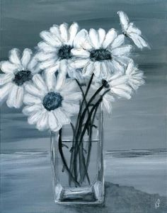 Daisy Painting, Fine Art Gallery, Art For Sale, Beautiful Flowers, Glass Vase, Black And White, Daisies, Floral, Gifts