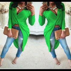 Green high-low Very cute long sleeve high low shirt Tops