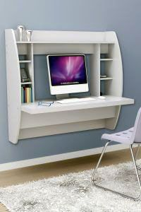 White Floating Desk With Storage. This Office Desk Furniture Is A Space Saving Solution For Any Home. Each Home Office Desk Is Easy To Mount And Features Ample Storage Space. Add This Modern Home Office Furniture To Your Workspace Today. Furniture For Small Spaces, Home Office Furniture, Small Rooms, Furniture Design, Bedroom Small, Furniture Ideas, Cheap Furniture, Furniture Stores, Small Apartments