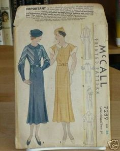 McCall 7289 after Patou | 1933 Ladies' & Misses' Dress