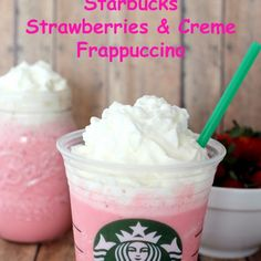 Here is another delicious Copycat Starbucks Strawberries and Creme Frappuccino by Simplee Thrifty Enjoy Starbucks for less. Make this Copycat Strawberries and Creme Frappuccino at home! Starbucks Coffee, Starbucks Drinks, Coffee Drinks, Iced Coffee, Healthy Starbucks, Coffee Latte, Starbucks Recipes, Coffee Recipes, Starbucks Hacks