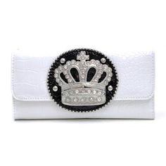 Dasein Rhinestone Crown Adorned Croco Checkbook Wallet - White Dasein Wallets. $26.99 Cute Wallets, Women Accessories, Coin Purse, Pouch, Crown, Belt, Purses, Clothes, Amazon
