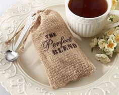 "The ""Perfect Blend"" Burlap Bag with Coffee - Set of 12 at WeddingFavors.org"
