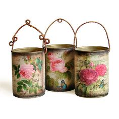 decoupage with plaited picture wire? Decoupage Tins, Decoupage On Canvas, Napkin Decoupage, Decoupage Vintage, Tin Can Crafts, Diy And Crafts, Arts And Crafts, Tin Can Art, Picture Wire