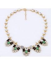 2013 Classic J *Crew Luxurious Crystal Gem Leaf Gold Alloy Necklace High Quality
