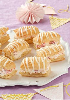"""Raspberry-Lemonade """"Cream Puffs"""" – Fans of cream puffs will like these sweet and citrusy treats. They look like the work of a pro—but you can make 'em at home with easy-to-use puff pastry sheets."""