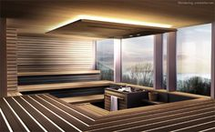 Sauna with a tranquil view. Hotel Pool, Hotel Spa, Spa Interior, Interior Design, Sauna Design, Spa Lighting, Finnish Sauna, Steam Sauna, Sauna Room