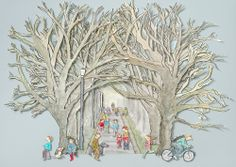 #cambridge #trees An avenue of leafless trees creates a tantalising tunnel drawing the viewer in.