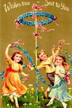 Mayday, May Maypole, Illustration, Vintage Card. Happy May Day! Vintage Greeting Cards, Vintage Postcards, Vintage Images, Beltane, May Day Baskets, Walpurgis Night, 1. Mai, Happy May, May Days