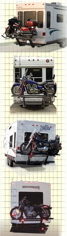 5th wheel motorcycle lift carrying a Harley Davidson motorcycle