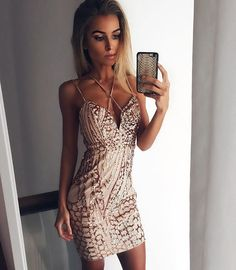 Cindi Sequin Dress - Rose Gold