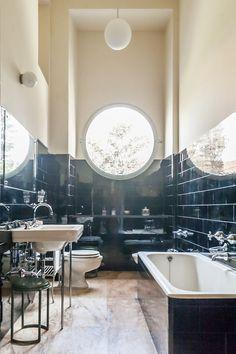 Italian Art Deco: Bathroom of the villa Necchi Campiglio, via Mozart at Milan designed by italian architect Piero Portaluppi Bad Inspiration, Bathroom Inspiration, Interior Inspiration, Dream Bathrooms, Beautiful Bathrooms, Small Bathroom, Bathroom Showers, Bathroom Ideas, Bathroom Designs