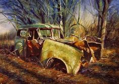Car in an Evening Wood by David Poxon  #DavidPoxon
