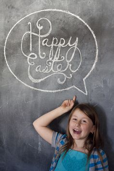 Easter Chalk Art using vinyl stencils