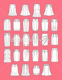 Illustration about Vector illustration of womens skirts. Illustration of classic… Illustration about Vector illustration of womens skirts. Illustration of classic, jeans, apparel – 31402827 Skirt Patterns Sewing, Clothing Patterns, Fashion Dictionary, Fashion Vocabulary, Types Of Skirts, Fashion Design Drawings, Rock Chic, Drawing Clothes, Fashion Sewing