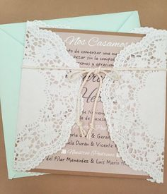invitación lace boda vintage