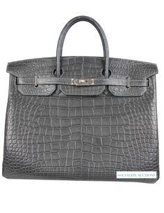 6f6a22da0e84 Now Available! Brand New! Hermes 40cm Birkin in Graphite Matte Alligator  with Palladium Hardware. Hermes BirkinBirkin BagsChanel ...