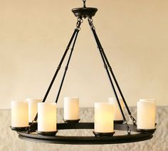"Veranda Round Chandelier, Bronze finish. 32"" diameter, 28"" high; 6' chain. $399"