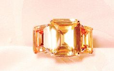 Golden Topaz Colour Change  Silver and Stainless Ring, CZ Stones, Statement Ring, Adjustable Size by EclairJewelry on Etsy