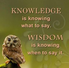 Wisdom Quote - Difference Between Knowledge and Wisdom. Knowledge is knowing what to say and Wisdom is knowing when to say it. Wise Quotes, Quotable Quotes, Words Quotes, Great Quotes, Motivational Quotes, Inspirational Quotes, Owl Quotes, Positive Quotes, Humorous Quotes