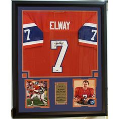 This framed NFL Hall of Famer John Elway Autographed Custom Jersey comes double matted and ready to hang in your man cave, office, or anywhere else you might think it will look good.   A Certificate validating authenticity of the autograph is included.