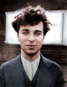 Charlie Chaplin at the age of 27, 1916 colorized picture