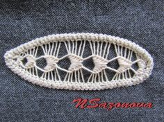 ~~needle lace on a denim back ground. Make cheap jeans 'cool' Needle Lace, Bobbin Lace, Tunisian Crochet, Irish Crochet, Form Crochet, Crochet Lace, Ribbon Embroidery, Embroidery Stitches, Lace Patterns