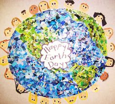 Earth Day Art- Recycle old magazines and cut out green and blue.  Glue to a white piece of butcher paper with the continents drawn on them.  Love it!