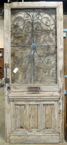 Antique French Napoleon III Style Oak Hall Door with Iron Elements