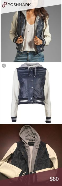 OBEY varsity lover jacket  Great condition! Worn once!! So comfy and soft yet stylish!! Color is Navy/cream in faux leather.  Sold out in stores, hard to find! MAKE ME AN OFFER!!  Obey Jackets & Coats