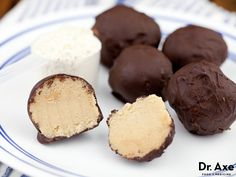 Dark Chocolate Protein Truffles ... 1/4 cup medjool dates, chopped, 1/4 cup vanilla whey protein powder, 1/4 cup almond milk, 1/8 cup steel cut oats, 2 tbsp honey, 1 tbsp Coconut flour, 2 dark chocolate bars, minimum 72% cacao, 1/4 C coconut oil