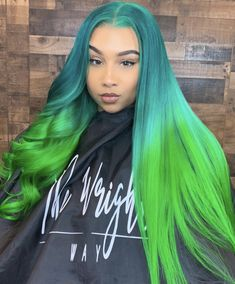 curled or straight? 💙💚 Full lace wig Custom color and install by Baddie Hairstyles, Weave Hairstyles, Pretty Hairstyles, Hair Colorful, Curly Hair Styles, Natural Hair Styles, Cute Hair Colors, Hair Laid, Green Hair