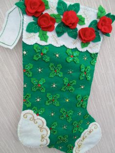 Roses and Holly Completed Handmade Felt by GrandmasStitchings