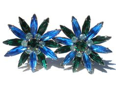 Vintage Rhinestone Clip On Earrings with Blue & Green Flowers on Silver Rhodium Plate - Vintage Costume Jewelry