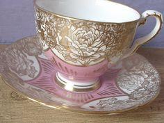 Vintage Royal Stafford gold cabbage roses tea cup and saucer, pink and gold tea cup set, English tea set, bone china tea cup set