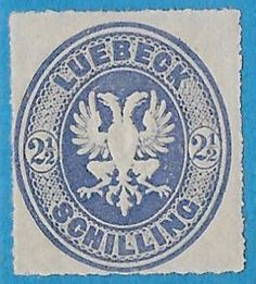 """Lübeck 1863 Scott 11 2 s ultramarine, Rouletted 11 Eagle Embossed, """"Coat of Arms"""" German Confederation, Germanic Tribes, The Third Reich, Prussia, Coat Of Arms, Emboss, Postage Stamps, Eagle, Germany"""
