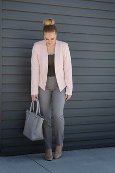 **Grey & Blush \\ An effortless work appropriate look for spring. See more on the blog!