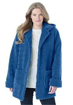 8d112ca90af60 Womens Plus Size Hooded Berber Jacket Royal Navy3X    Learn more by  visiting the image