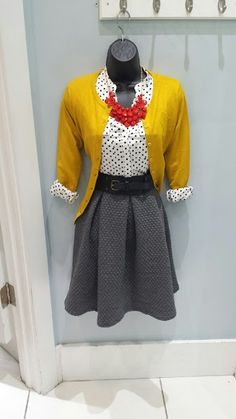 Mustard cardigan $22.99, Polka dot top $32.99, Grey textured a-line skirt $32.99, wide belt 16.99