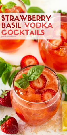 A splash of bubbles in these Strawberry Basil Vodka Cocktails takes your summer sipping to a tasty new level! Cocktail Vodka, Basil Cocktail, Prosecco Cocktails, Jalapeno Margarita, Margarita Recipes, Vodka Drink Recipes, Rum Recipes, Vodka Cocktails, Summer Drinks