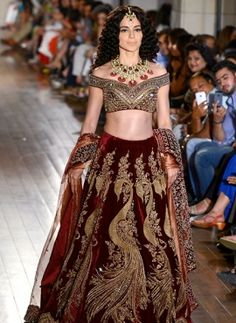 Kangana Ranaut Maroon Lengha Choli With Heavy Work  https://www.gravity-fashion.com/haute-couture