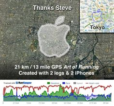 Last week we heard that Steve Jobs was stepping down as Apple's CEO, marathon runner Joseph Tame has created a cool tribute to Steve Jobs, a long Apple logo created using GPS and 2 iPhones.