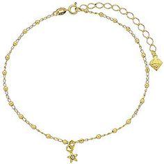 Tornozeleira folheada a ouro com bolinhas e estrela c/ strass-Clique para maiores detalhes